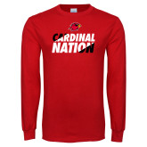 Red Long Sleeve T Shirt-Cardinal Nation