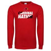 Red Long Sleeve T Shirt-Cardinal Nation