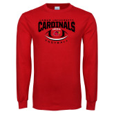 Red Long Sleeve T Shirt-Football Arched Over Ball