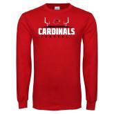 Red Long Sleeve T Shirt-Football Goal Design