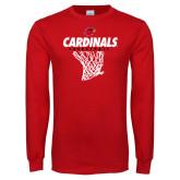 Red Long Sleeve T Shirt-Basketball Net Design