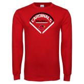 Red Long Sleeve T Shirt-Baseball Geometric Plate