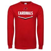 Red Long Sleeve T Shirt-Baseball Plate Design