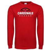 Red Long Sleeve T Shirt-Soccer Half Ball Design