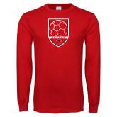 Red Long Sleeve T Shirt-Soccer Shield Design