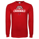 Red Long Sleeve T Shirt-Geometric Volleyball Design