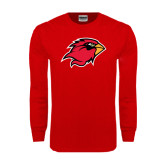 Red Long Sleeve TShirt-Cardinal Head