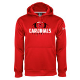 Under Armour Red Performance Sweats Team Hoodie-Football Stacked Ball Design