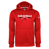 Under Armour Red Performance Sweats Team Hoodie-Football Geometric Design