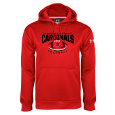 Under Armour Red Performance Sweats Team Hoodie-Football Arched Over Ball