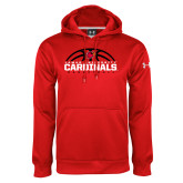Under Armour Red Performance Sweats Team Hoodie-Half Ball Basketball Design