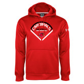 Under Armour Red Performance Sweats Team Hoodie-Baseball Geometric Plate