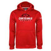 Under Armour Red Performance Sweats Team Hoodie-Soccer Half Ball Design