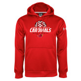 Under Armour Red Performance Sweats Team Hoodie-Geometric Volleyball Design