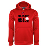 Under Armour Red Performance Sweats Team Hoodie-Bump Set Spike