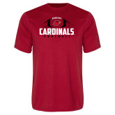 Performance Red Tee-Football Stacked Ball Design