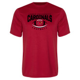 Performance Red Tee-Football Arched Over Ball
