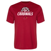 Performance Red Tee-Geometric Volleyball Design