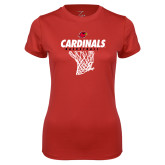 Ladies Syntrel Performance Red Tee-Basketball Net Design