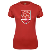 Ladies Syntrel Performance Red Tee-Soccer Shield Design