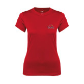 Ladies Syntrel Performance Red Tee-Lamar University w/Cardinal Head