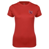 Ladies Syntrel Performance Red Tee-Interlocking LU
