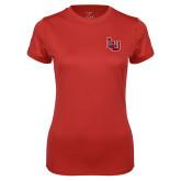 Ladies Syntrel Performance Red Tee-Interlocking LU