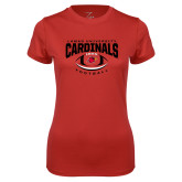 Ladies Syntrel Performance Red Tee-Football Arched Over Ball