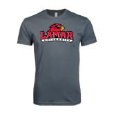 SoftStyle Charcoal T Shirt-Lamar University w/Cardinal Head