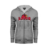 Ladies Grey Fleece Full Zip Hoodie-Lamar University w/Cardinal Head