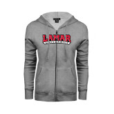 Ladies Grey Fleece Full Zip Hoodie-Lamar University