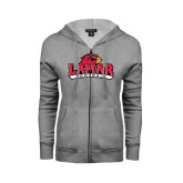 Ladies Grey Fleece Full Zip Hoodie-Football