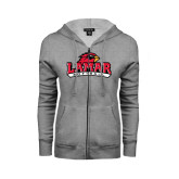 Ladies Grey Fleece Full Zip Hoodie-Softball