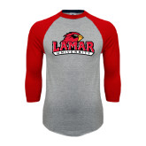 Grey/Red Raglan Baseball T Shirt-Lamar University w/Cardinal Head