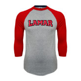 Grey/Red Raglan Baseball T Shirt-Lamar