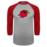 Grey/Red Raglan Baseball T-Shirt-Cardinal Head