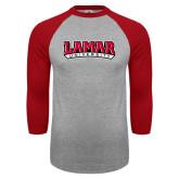 Grey/Red Raglan Baseball T Shirt-Wordmark