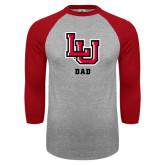 Grey/Red Raglan Baseball T Shirt-Dad