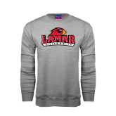 Champion Grey Fleece Crew-Lamar University w/Cardinal Head