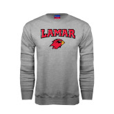 Grey Fleece Crew-Lamar w/Cardinal Head
