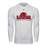 Under Armour White Long Sleeve Tech Tee-Lamar University w/Cardinal Head