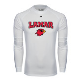 Under Armour White Long Sleeve Tech Tee-Lamar w/Cardinal Head