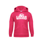 Youth Raspberry Fleece Hood-Lamar University w/Cardinal Head