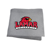 Grey Sweatshirt Blanket-Lamar University w/Cardinal Head