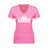 Ladies Junior Fit Deep V Pink Tee-Kay Yow Breast Cancer Fund Ribbon