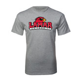 Sport Grey T Shirt-Lamar University w/Cardinal Head