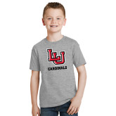 Youth Grey T-Shirt-LU Cardinals Stacked