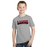 Youth Grey T-Shirt-Lamar University Cardinal Stacked