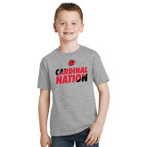 Youth Grey T-Shirt-Cardinal Nation