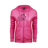 Ladies Fuschia Fleece Full Zip Hoodie-Lamar University Distressed Foil